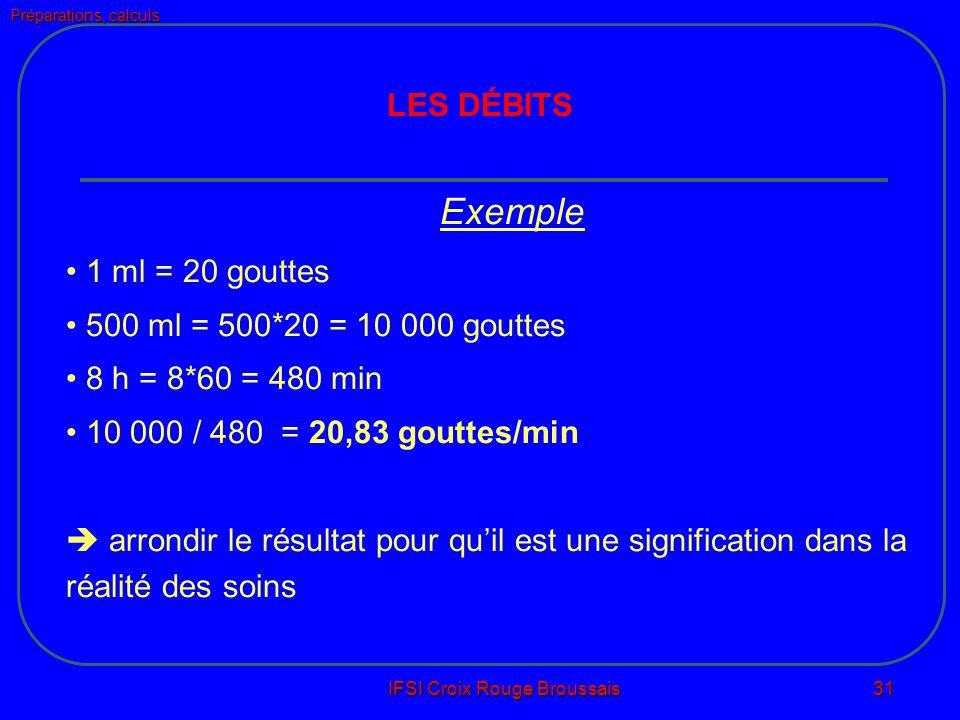 Préparations, calculs IFSI Croix Rouge Broussais 31 LES DÉBITS Exemple 1 ml = 20 gouttes 500 ml = 500*20 = 10 000 gouttes 8 h = 8*60 = 480 min 10 000 / 480 = 20,83 gouttes/min arrondir le résultat pour quil est une signification dans la réalité des soins