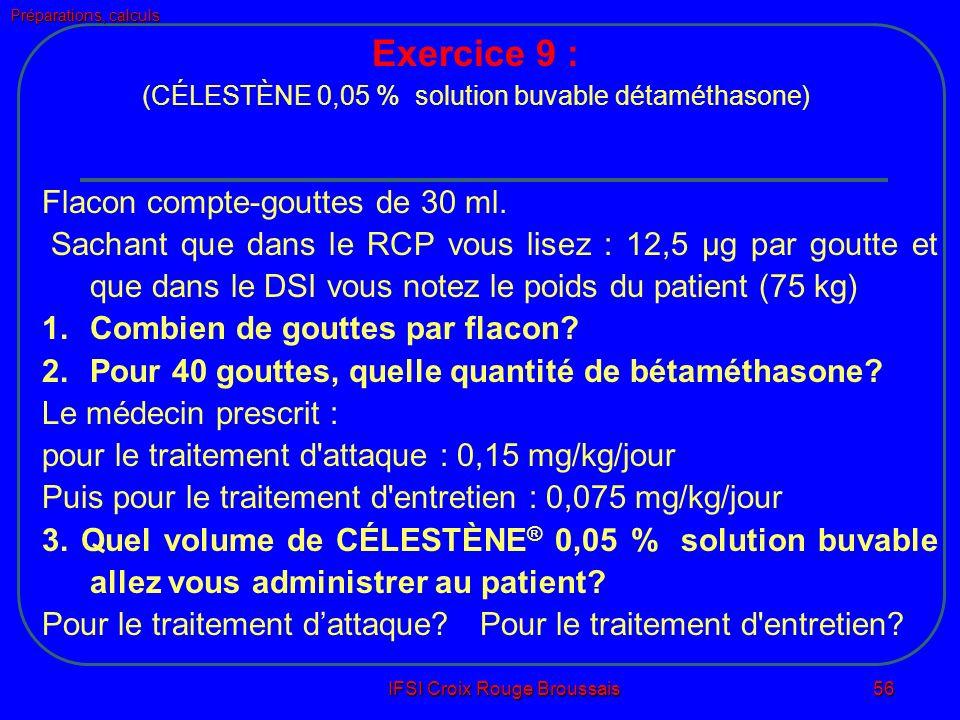 Préparations, calculs IFSI Croix Rouge Broussais 56 Flacon compte-gouttes de 30 ml.