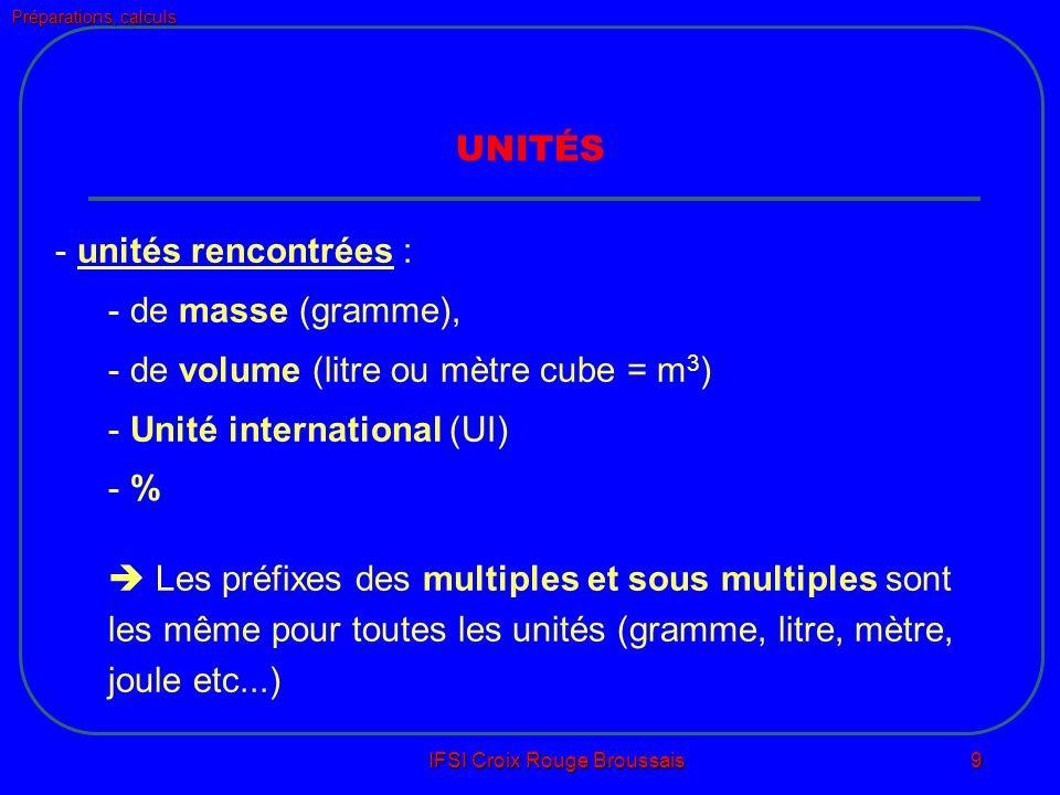 Préparations, calculs IFSI Croix Rouge Broussais 9 UNITÉS - unités rencontrées : - de masse (gramme), - de volume (litre ou mètre cube = m 3 ) - Unité international (UI) - % Les préfixes des multiples et sous multiples sont les même pour toutes les unités (gramme, litre, mètre, joule etc...)