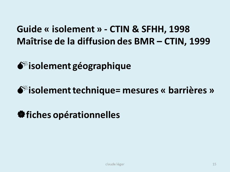 claude léger15 Guide « isolement » - CTIN & SFHH, 1998 Maîtrise de la diffusion des BMR – CTIN, 1999 isolement géographique isolement technique= mesur
