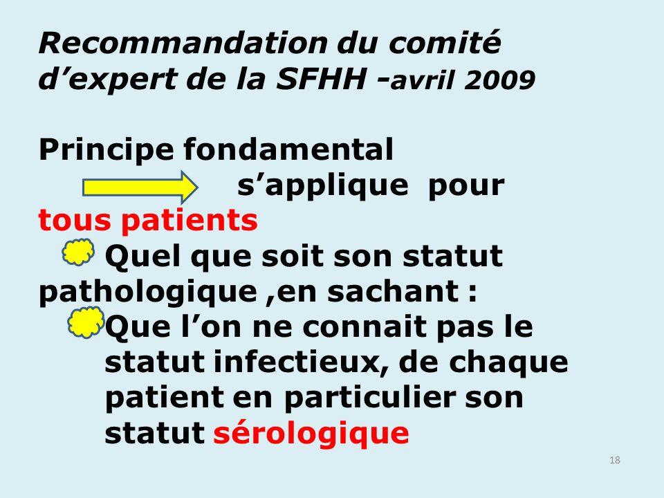18 Recommandation du comité dexpert de la SFHH - avril 2009 Principe fondamental sapplique pour tous patients Quel que soit son statut pathologique,en