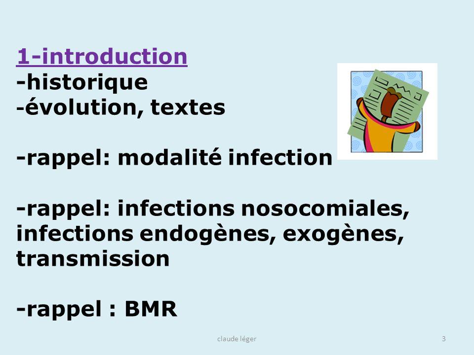 claude léger3 1-introduction -historique - évolution, textes -rappel: modalité infection -rappel: infections nosocomiales, infections endogènes, exogè