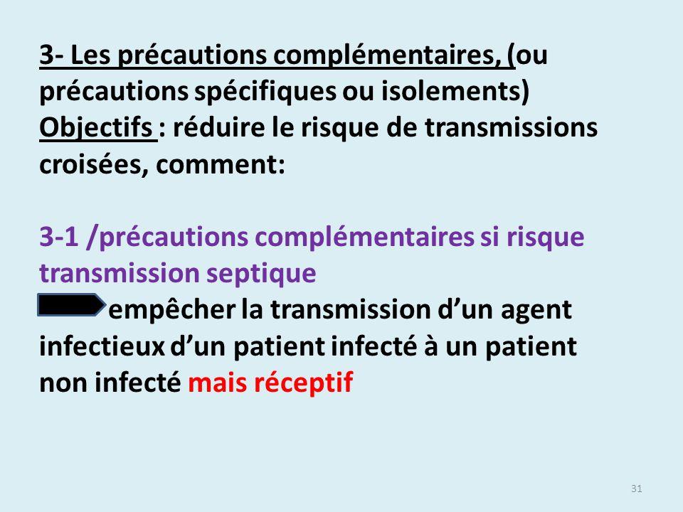 31 3- Les précautions complémentaires, (ou précautions spécifiques ou isolements) Objectifs : réduire le risque de transmissions croisées, comment: 3-