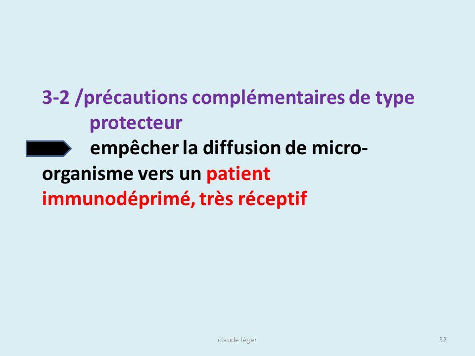 claude léger32 3-2 /précautions complémentaires de type protecteur empêcher la diffusion de micro- organisme vers un patient immunodéprimé, très récep
