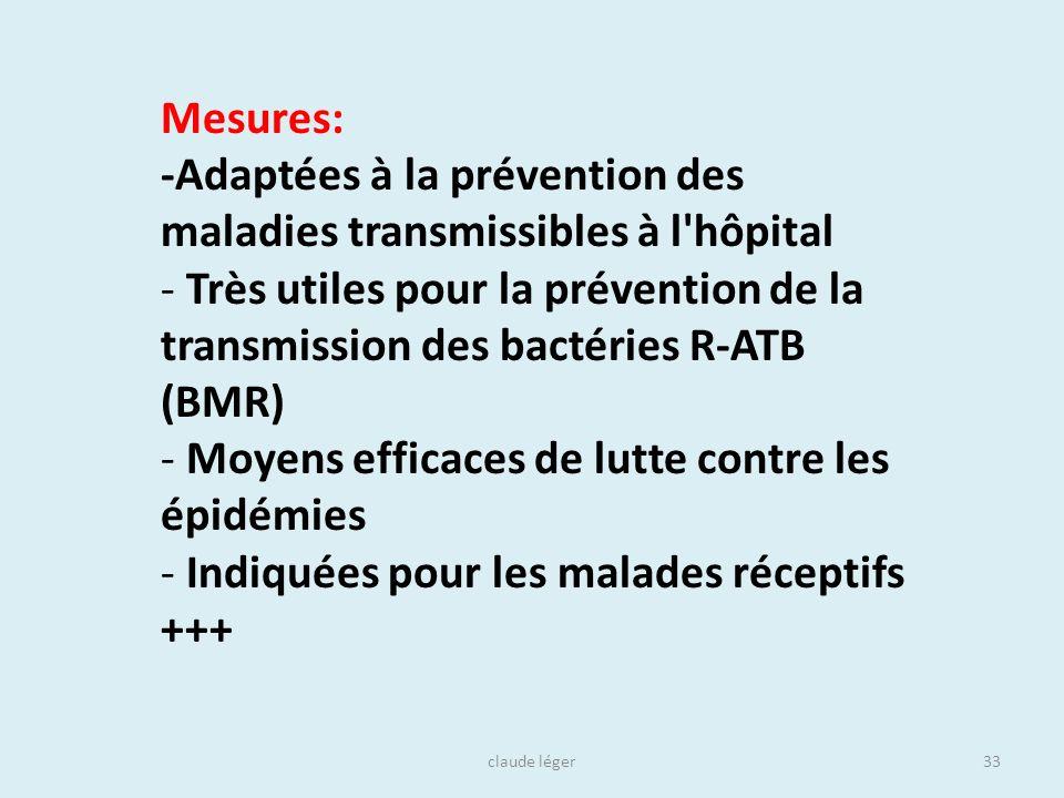 claude léger33 Mesures: -Adaptées à la prévention des maladies transmissibles à l'hôpital - Très utiles pour la prévention de la transmission des bact
