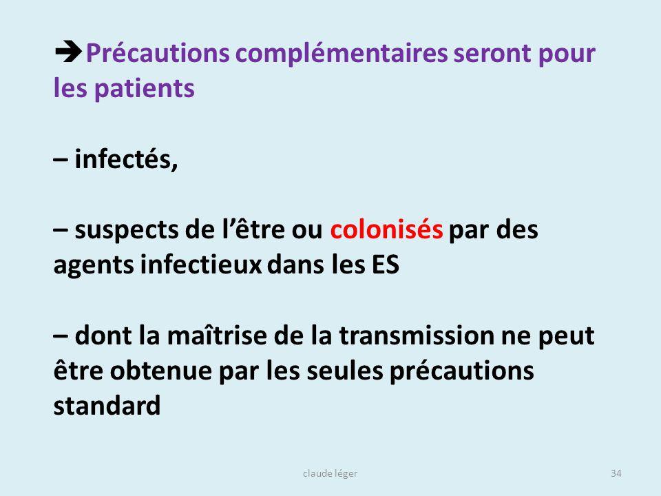 claude léger34 Précautions complémentaires seront pour les patients – infectés, – suspects de lêtre ou colonisés par des agents infectieux dans les ES
