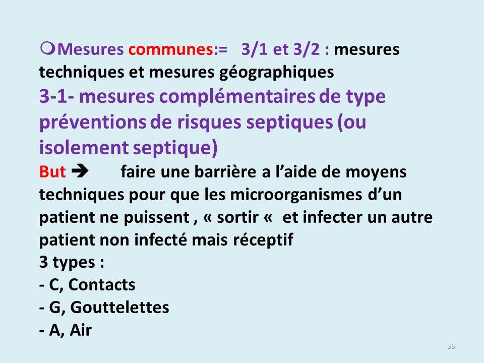 35 Mesures communes:= 3/1 et 3/2 : mesures techniques et mesures géographiques 3-1- mesures complémentaires de type préventions de risques septiques (
