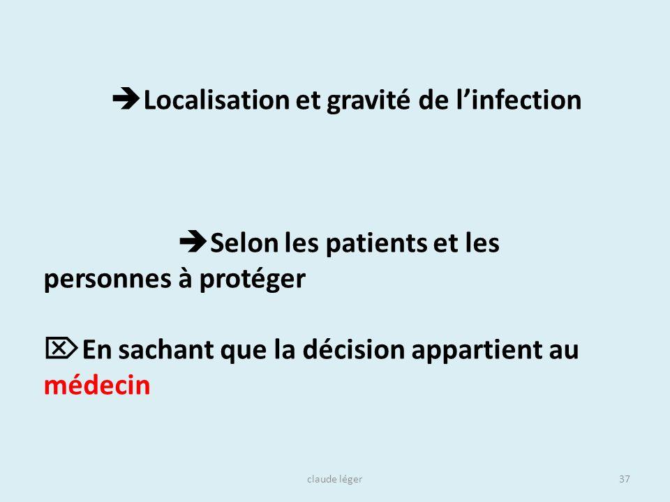 claude léger37 Localisation et gravité de linfection Selon les patients et les personnes à protéger En sachant que la décision appartient au médecin
