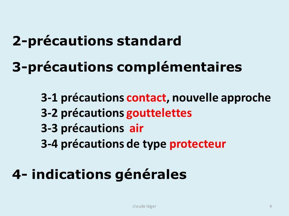 claude léger4 3-précautions complémentaires 3-1 précautions contact, nouvelle approche 3-2 précautions gouttelettes 3-3 précautions air 3-4 précaution