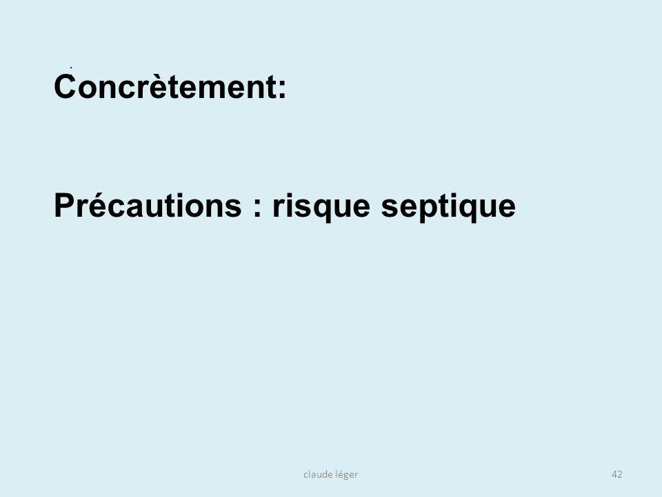 claude léger42 : Concrètement: Précautions : risque septique