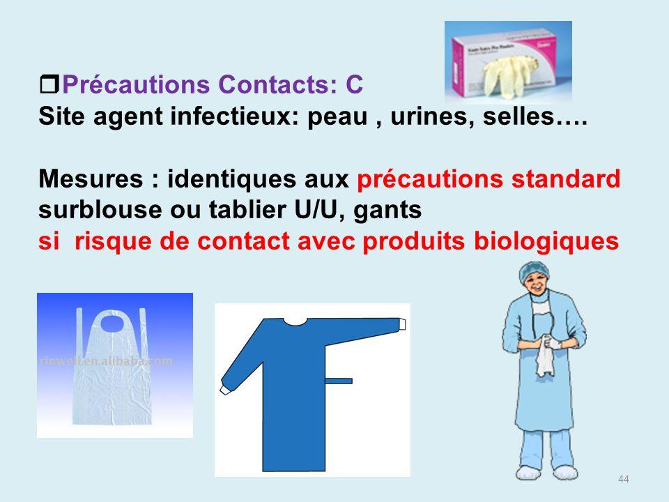 44 Précautions Contacts: C Site agent infectieux: peau, urines, selles…. Mesures : identiques aux précautions standard surblouse ou tablier U/U, gants