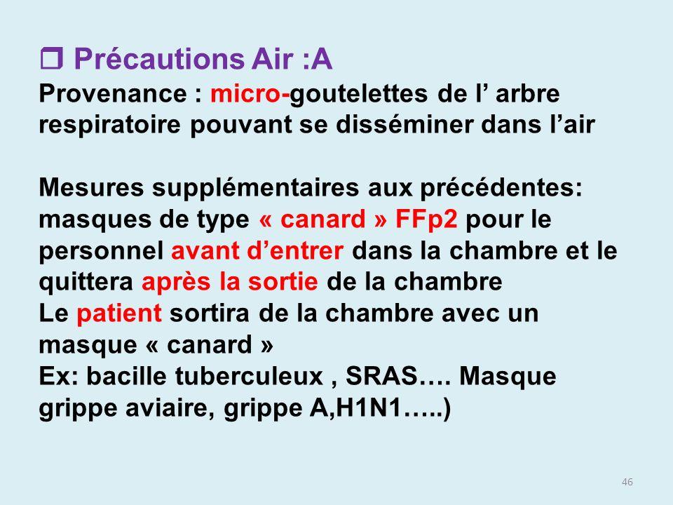 46 Précautions Air :A Provenance : micro-goutelettes de l arbre respiratoire pouvant se disséminer dans lair Mesures supplémentaires aux précédentes: