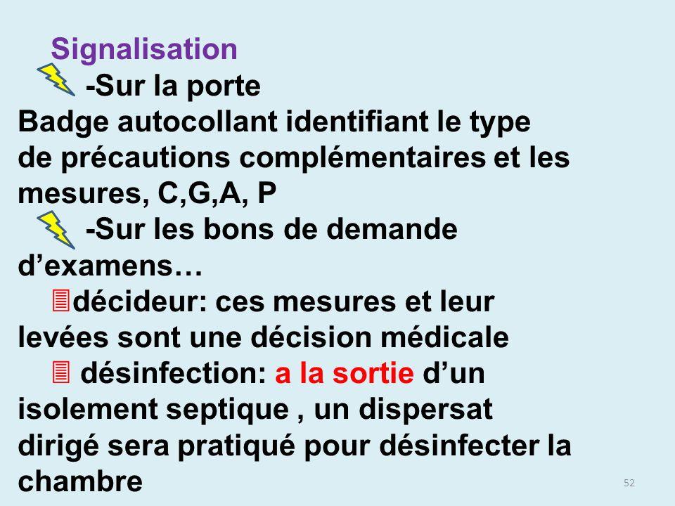 52 Signalisation -Sur la porte Badge autocollant identifiant le type de précautions complémentaires et les mesures, C,G,A, P -Sur les bons de demande