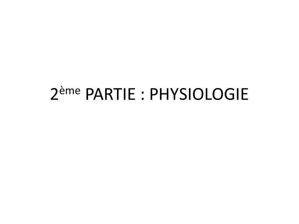 2 ème PARTIE : PHYSIOLOGIE