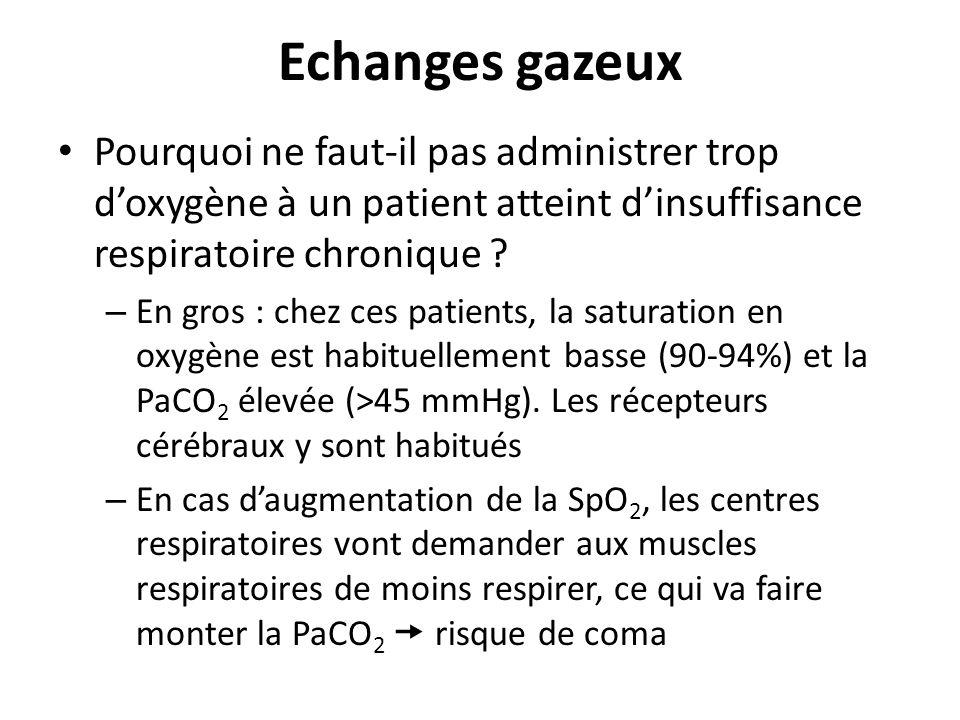 Echanges gazeux Pourquoi ne faut-il pas administrer trop doxygène à un patient atteint dinsuffisance respiratoire chronique ? – En gros : chez ces pat