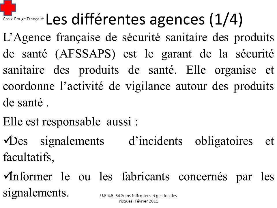 Les différentes agences (1/4) LAgence française de sécurité sanitaire des produits de santé (AFSSAPS) est le garant de la sécurité sanitaire des produits de santé.