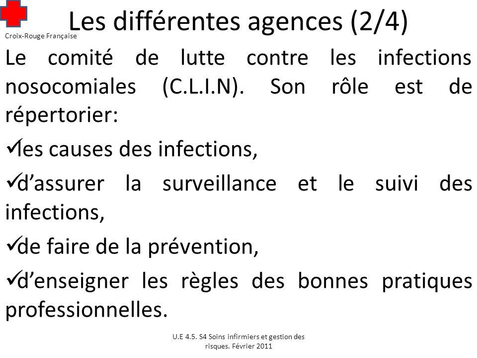 Les différentes agences (2/4) Le comité de lutte contre les infections nosocomiales (C.L.I.N).
