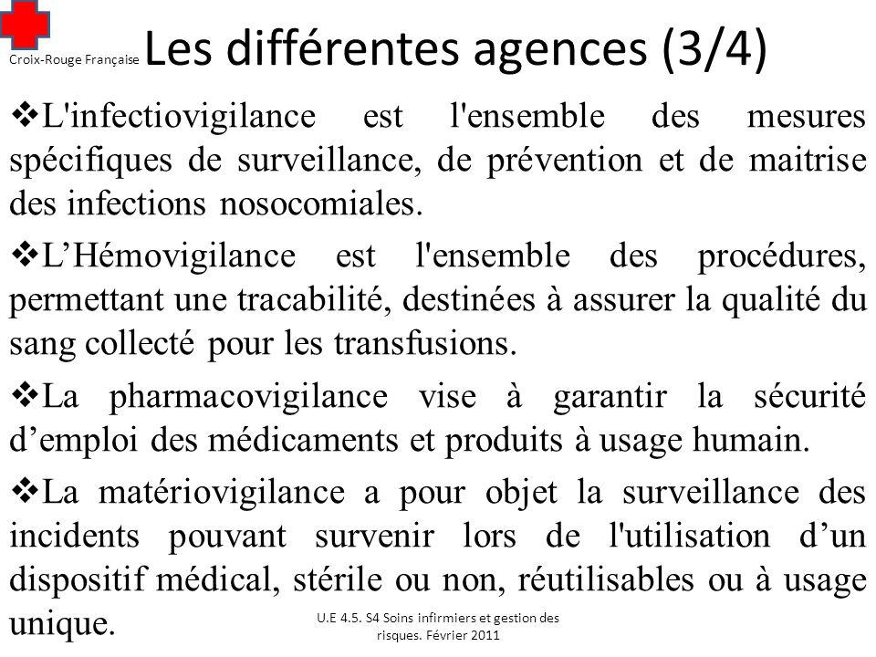 Les différentes agences (3/4) L infectiovigilance est l ensemble des mesures spécifiques de surveillance, de prévention et de maitrise des infections nosocomiales.