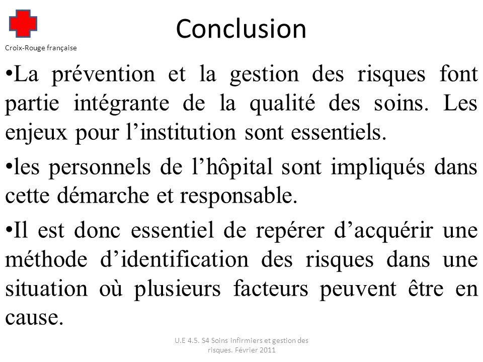 Conclusion La prévention et la gestion des risques font partie intégrante de la qualité des soins.
