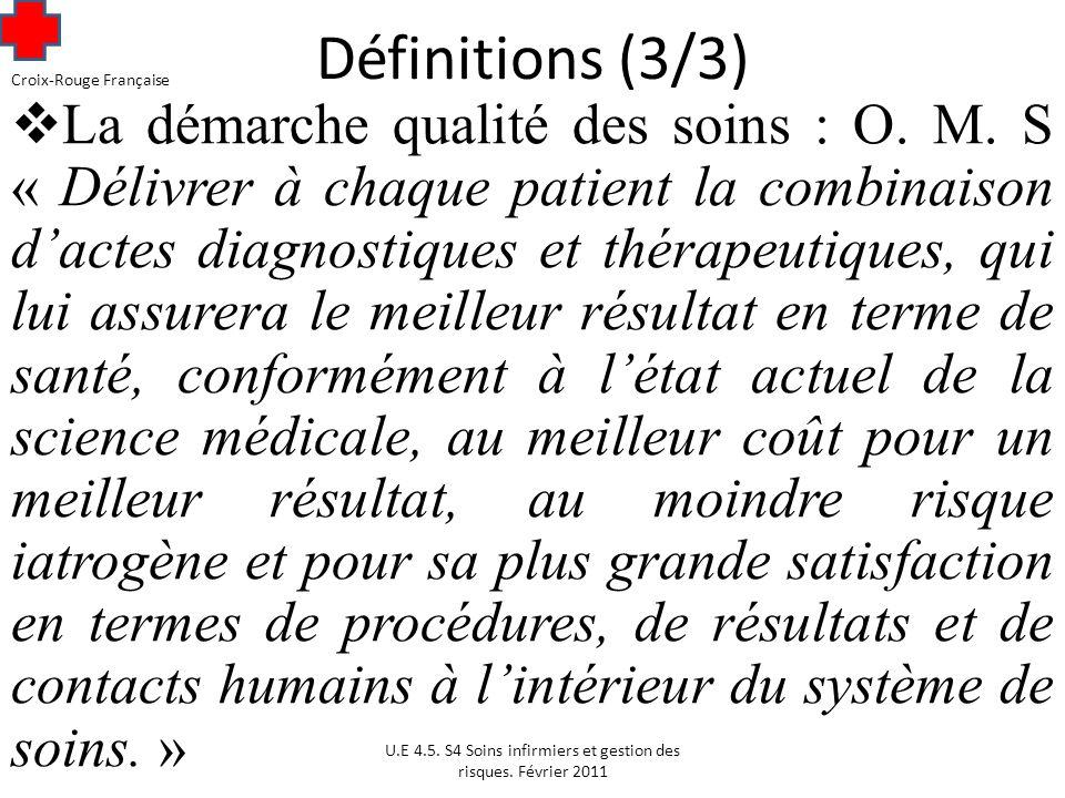 Définitions (3/3) La démarche qualité des soins : O.