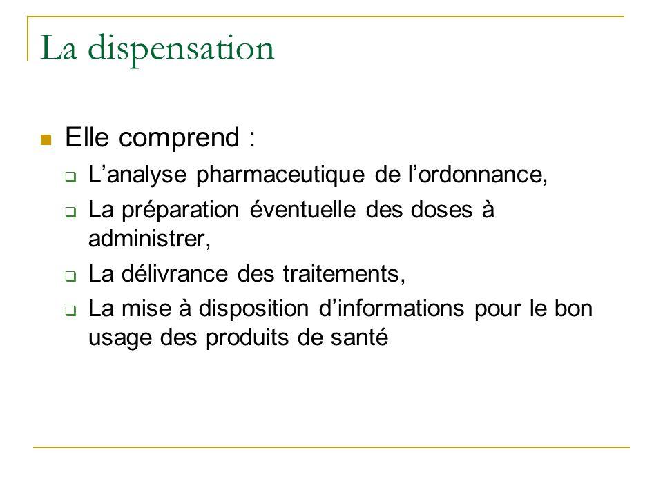 La dispensation Elle comprend : Lanalyse pharmaceutique de lordonnance, La préparation éventuelle des doses à administrer, La délivrance des traitements, La mise à disposition dinformations pour le bon usage des produits de santé