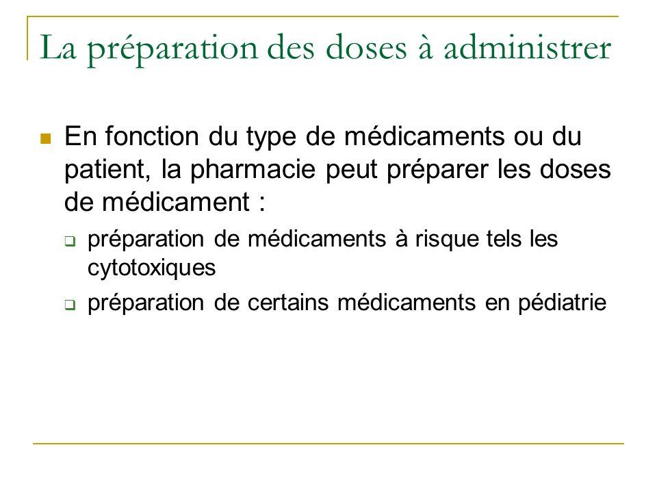 La préparation des doses à administrer En fonction du type de médicaments ou du patient, la pharmacie peut préparer les doses de médicament : préparation de médicaments à risque tels les cytotoxiques préparation de certains médicaments en pédiatrie