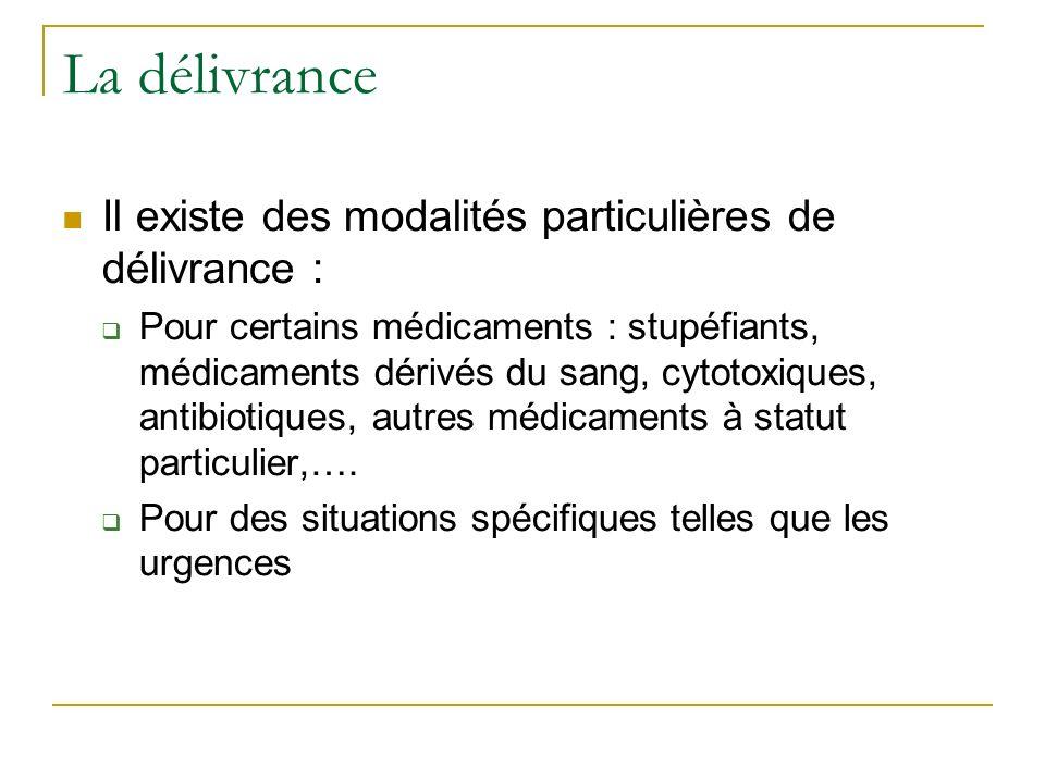 Il existe des modalités particulières de délivrance : Pour certains médicaments : stupéfiants, médicaments dérivés du sang, cytotoxiques, antibiotiques, autres médicaments à statut particulier,….