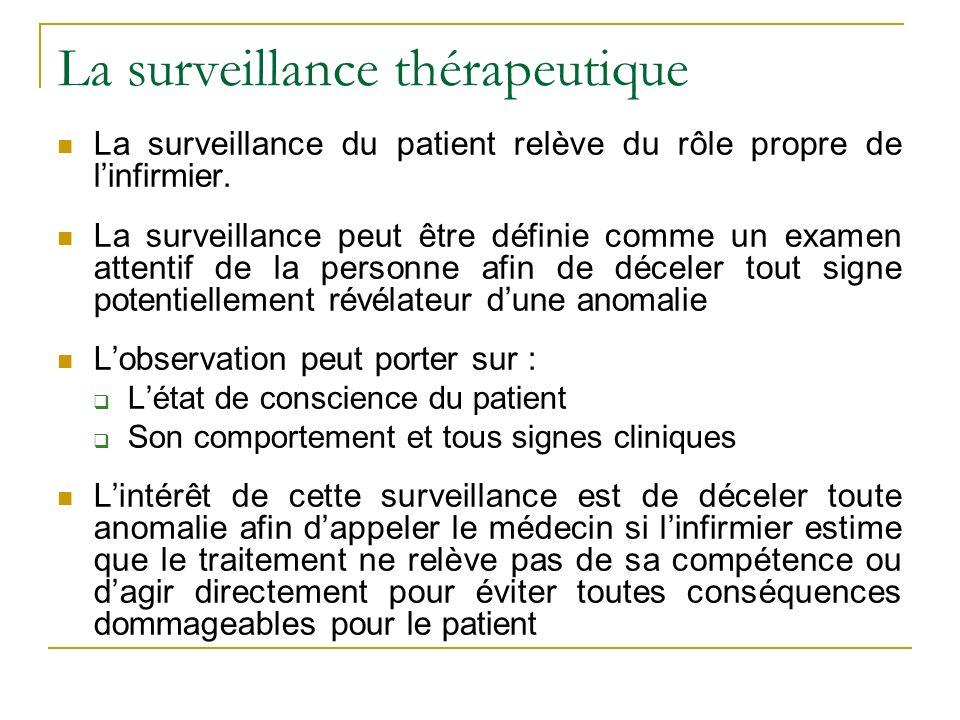 La surveillance thérapeutique La surveillance du patient relève du rôle propre de linfirmier.