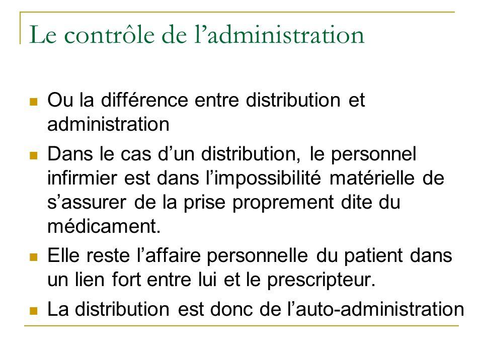 Le contrôle de ladministration Ou la différence entre distribution et administration Dans le cas dun distribution, le personnel infirmier est dans limpossibilité matérielle de sassurer de la prise proprement dite du médicament.