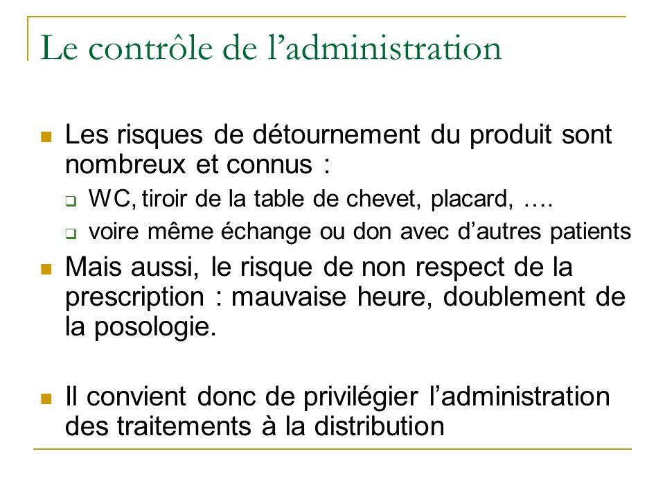 Le contrôle de ladministration Les risques de détournement du produit sont nombreux et connus : WC, tiroir de la table de chevet, placard, ….
