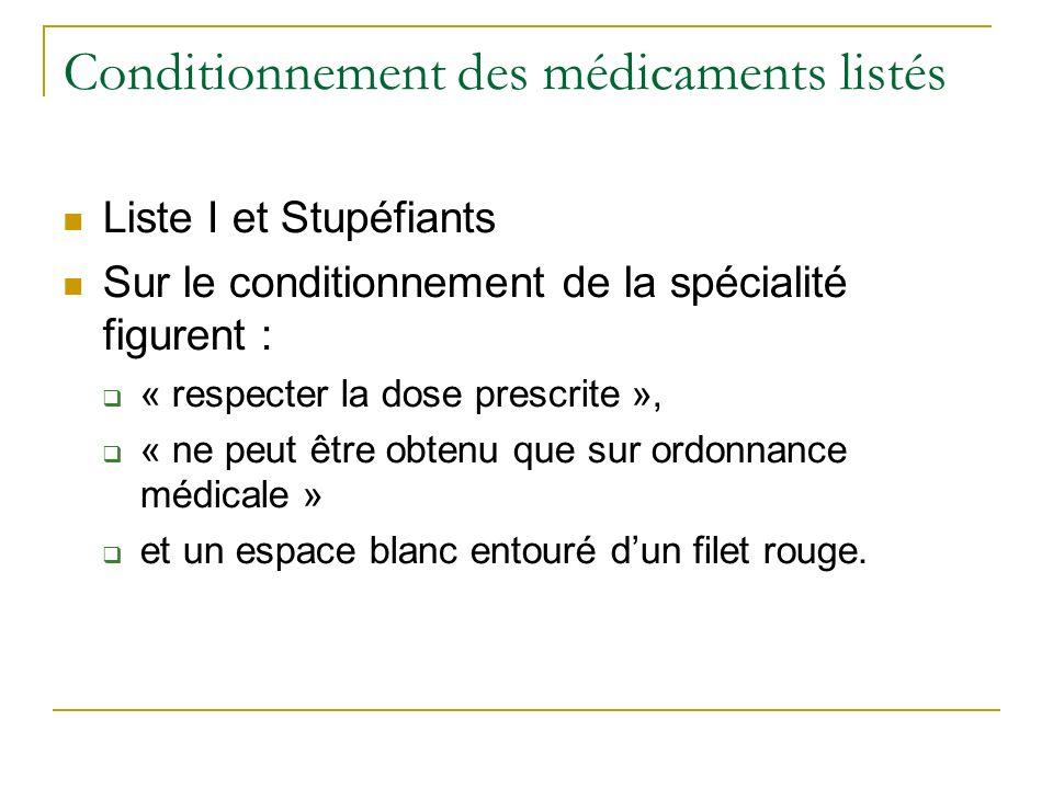 Conditionnement des médicaments listés Liste I et Stupéfiants Sur le conditionnement de la spécialité figurent : « respecter la dose prescrite », « ne peut être obtenu que sur ordonnance médicale » et un espace blanc entouré dun filet rouge.