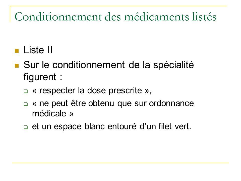 Conditionnement des médicaments listés Liste II Sur le conditionnement de la spécialité figurent : « respecter la dose prescrite », « ne peut être obtenu que sur ordonnance médicale » et un espace blanc entouré dun filet vert.
