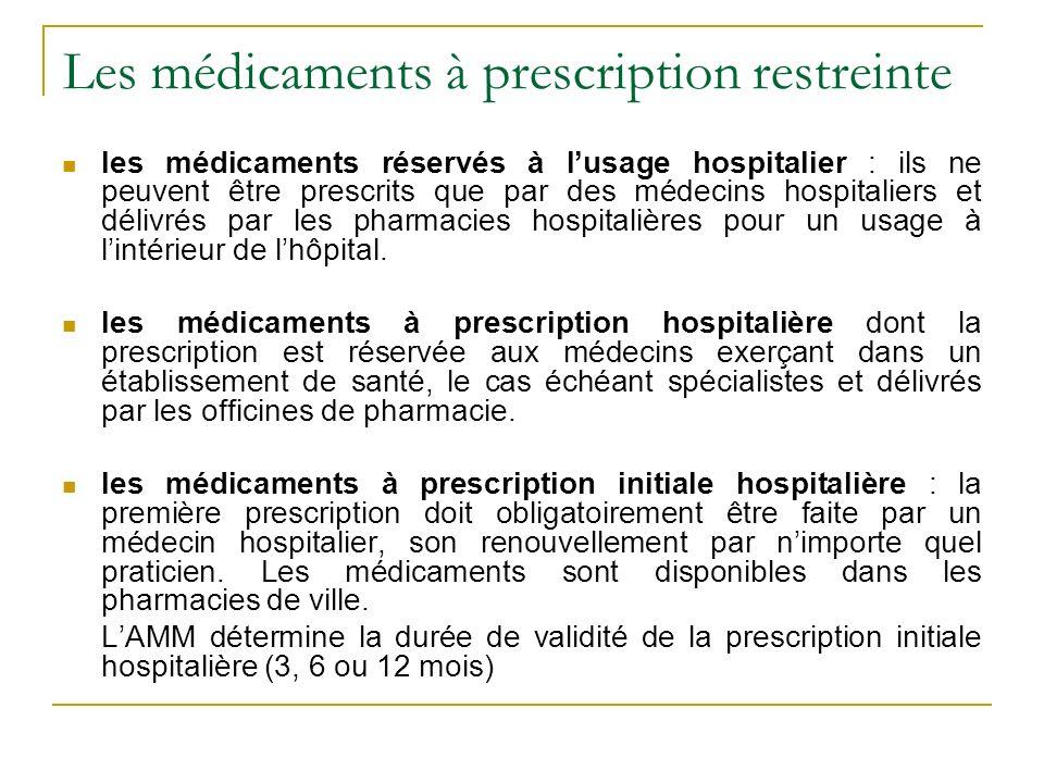 Les médicaments à prescription restreinte les médicaments réservés à lusage hospitalier : ils ne peuvent être prescrits que par des médecins hospitaliers et délivrés par les pharmacies hospitalières pour un usage à lintérieur de lhôpital.