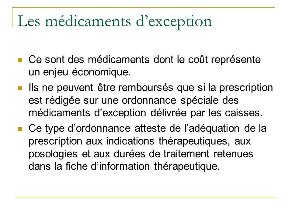 Les médicaments dexception Ce sont des médicaments dont le coût représente un enjeu économique.