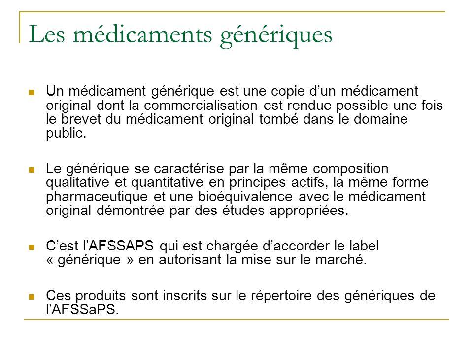Les médicaments génériques Un médicament générique est une copie dun médicament original dont la commercialisation est rendue possible une fois le brevet du médicament original tombé dans le domaine public.
