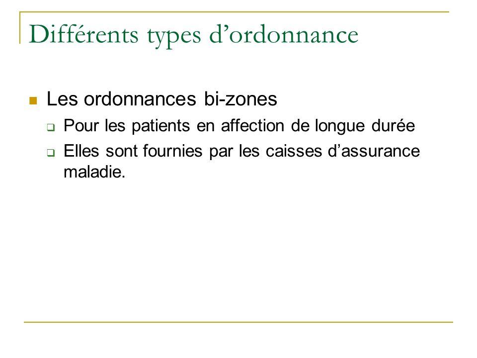 Différents types dordonnance Les ordonnances bi-zones Pour les patients en affection de longue durée Elles sont fournies par les caisses dassurance maladie.