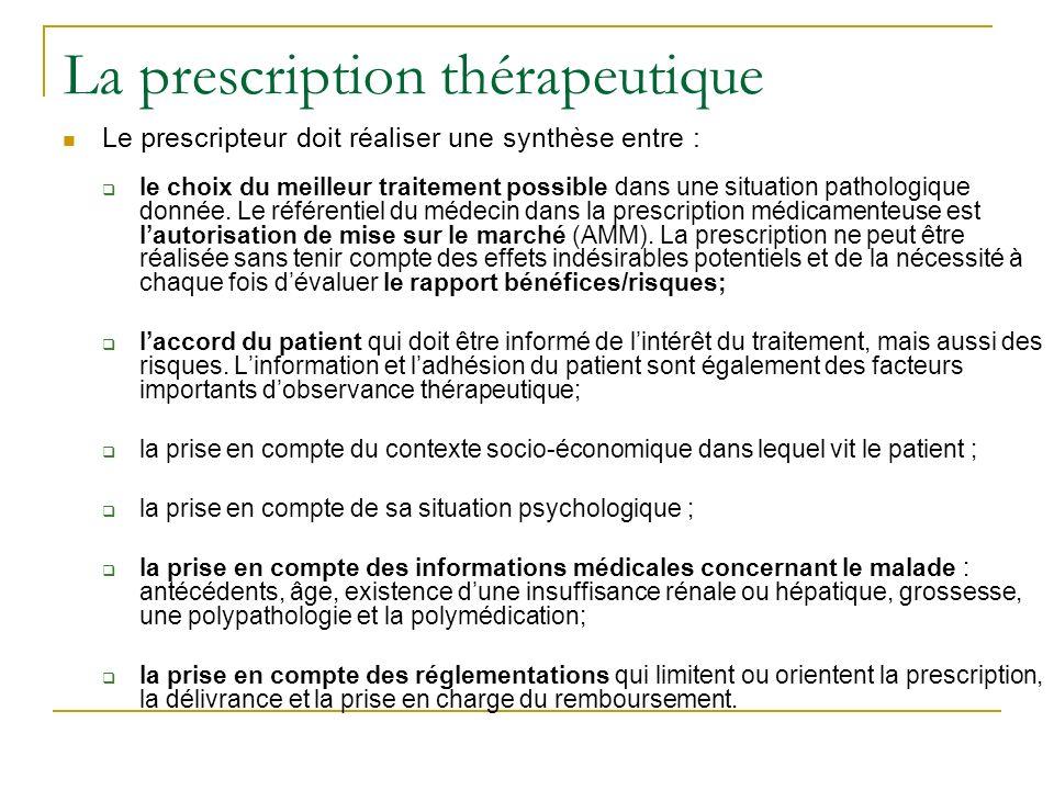 La prescription thérapeutique Le prescripteur doit réaliser une synthèse entre : le choix du meilleur traitement possible dans une situation pathologique donnée.