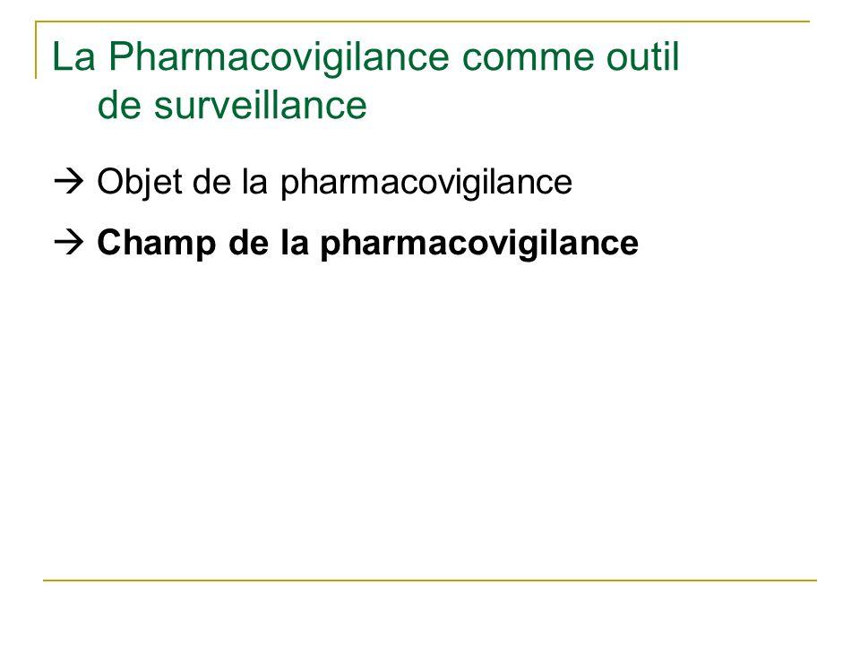 La Pharmacovigilance comme outil de surveillance Objet de la pharmacovigilance Champ de la pharmacovigilance