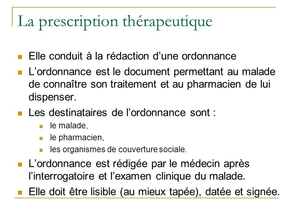 La prescription thérapeutique Elle conduit à la rédaction dune ordonnance Lordonnance est le document permettant au malade de connaître son traitement et au pharmacien de lui dispenser.