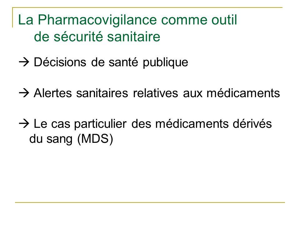 La Pharmacovigilance comme outil de sécurité sanitaire Décisions de santé publique Alertes sanitaires relatives aux médicaments Le cas particulier des médicaments dérivés du sang (MDS)
