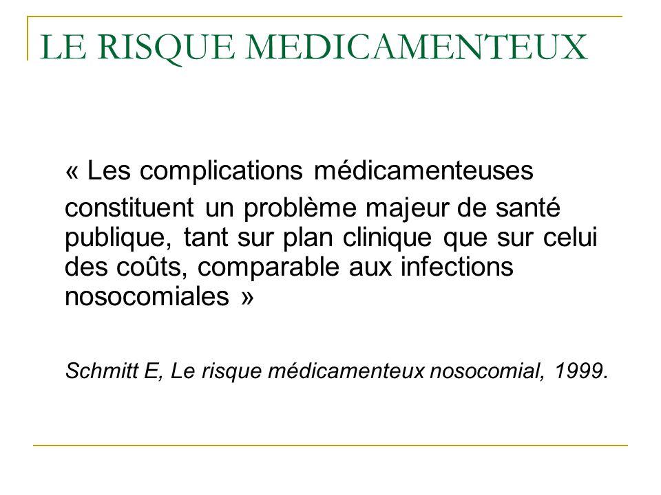 LE RISQUE MEDICAMENTEUX « Les complications médicamenteuses constituent un problème majeur de santé publique, tant sur plan clinique que sur celui des coûts, comparable aux infections nosocomiales » Schmitt E, Le risque médicamenteux nosocomial, 1999.
