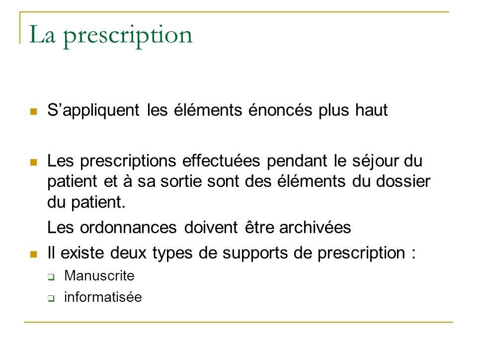 La prescription Sappliquent les éléments énoncés plus haut Les prescriptions effectuées pendant le séjour du patient et à sa sortie sont des éléments du dossier du patient.