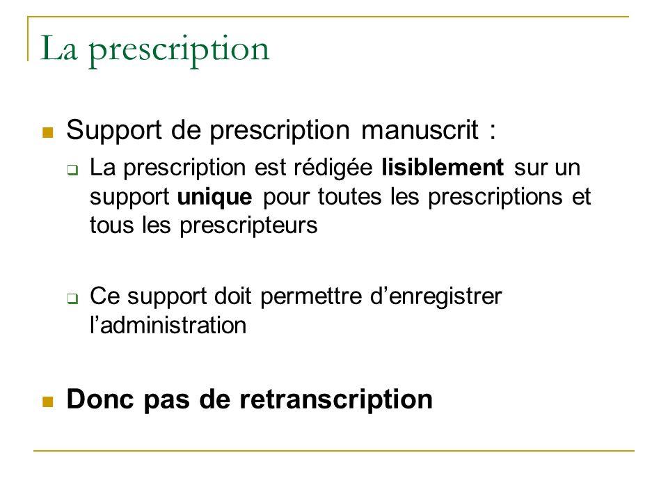 La prescription Support de prescription manuscrit : La prescription est rédigée lisiblement sur un support unique pour toutes les prescriptions et tous les prescripteurs Ce support doit permettre denregistrer ladministration Donc pas de retranscription