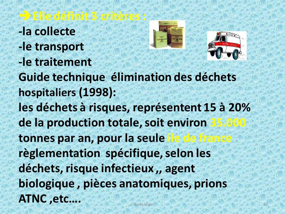 Elle définit 3 critères : -la collecte -le transport -le traitement Guide technique élimination des déchets hospitaliers (1998): les déchets à risques