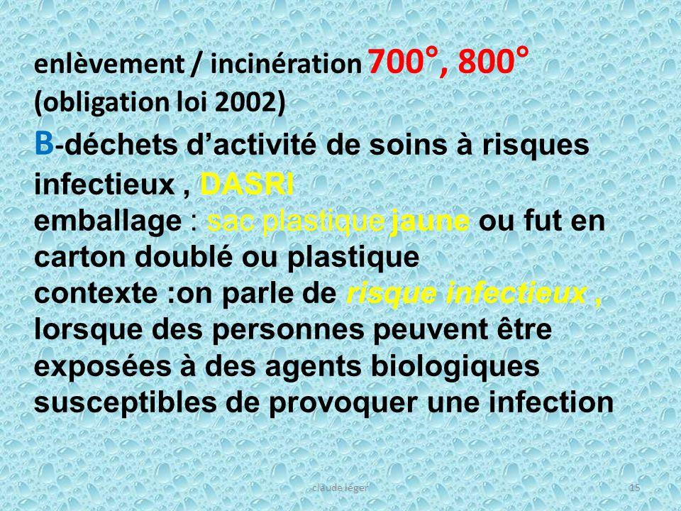 enlèvement / incinération 700°, 800° (obligation loi 2002) B - déchets dactivité de soins à risques infectieux, DASRI emballage : sac plastique jaune