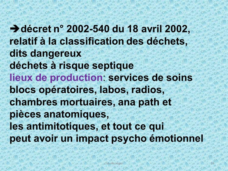 16 décret n° 2002-540 du 18 avril 2002, relatif à la classification des déchets, dits dangereux déchets à risque septique lieux de production: service