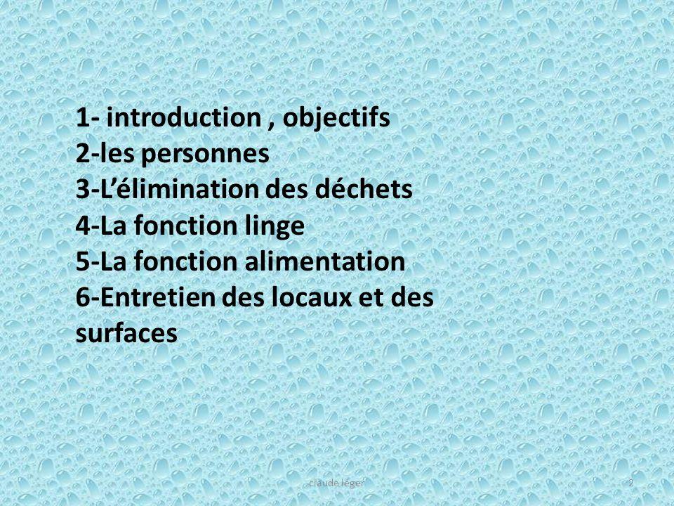 1- introduction, objectifs 2-les personnes 3-Lélimination des déchets 4-La fonction linge 5-La fonction alimentation 6-Entretien des locaux et des sur