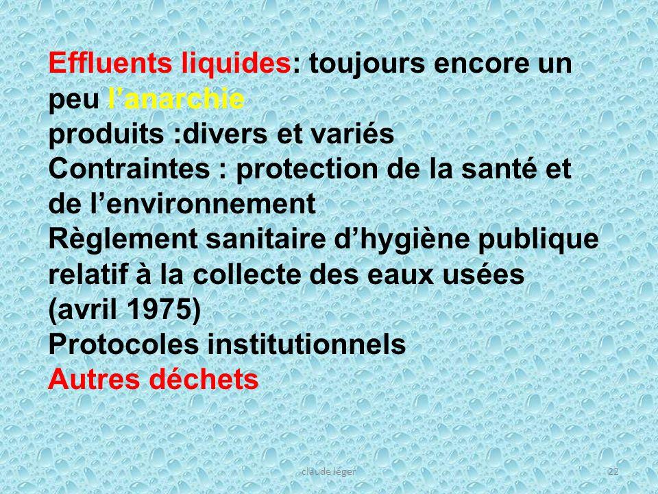 claude léger22 Effluents liquides: toujours encore un peu lanarchie produits :divers et variés Contraintes : protection de la santé et de lenvironneme