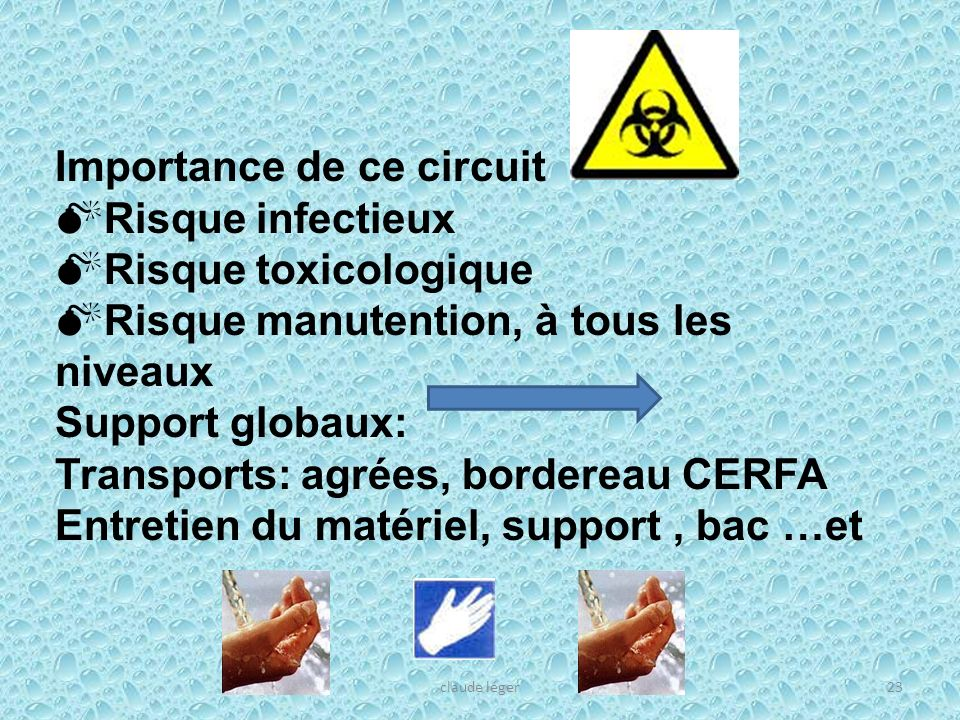 claude léger23 Importance de ce circuit Risque infectieux Risque toxicologique Risque manutention, à tous les niveaux Support globaux: Transports: agr