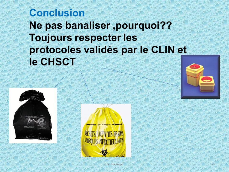 claude léger24 Conclusion Ne pas banaliser,pourquoi?? Toujours respecter les protocoles validés par le CLIN et le CHSCT